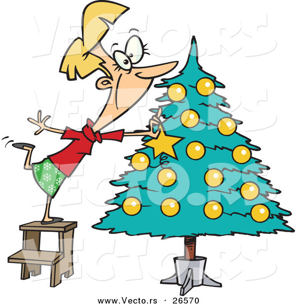 Cartoon Vector of a Happy Girl Decorating a Christmas Tree by Ron ...