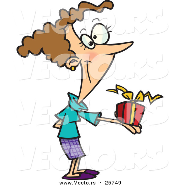Cartoon Vector of a Happy Girl Giving Present