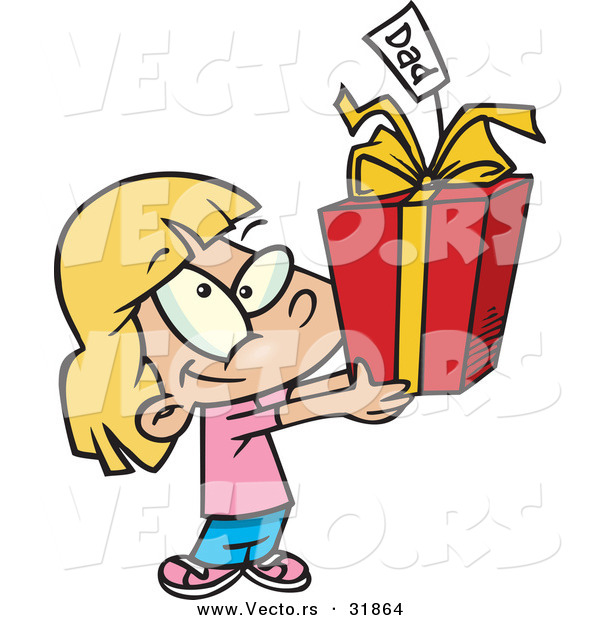 Cartoon Vector of a Happy Girl Giving Present to Dad
