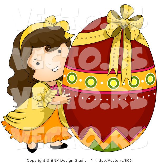 Cartoon Vector of a Happy Girl Hugging Giant Red Easter Egg