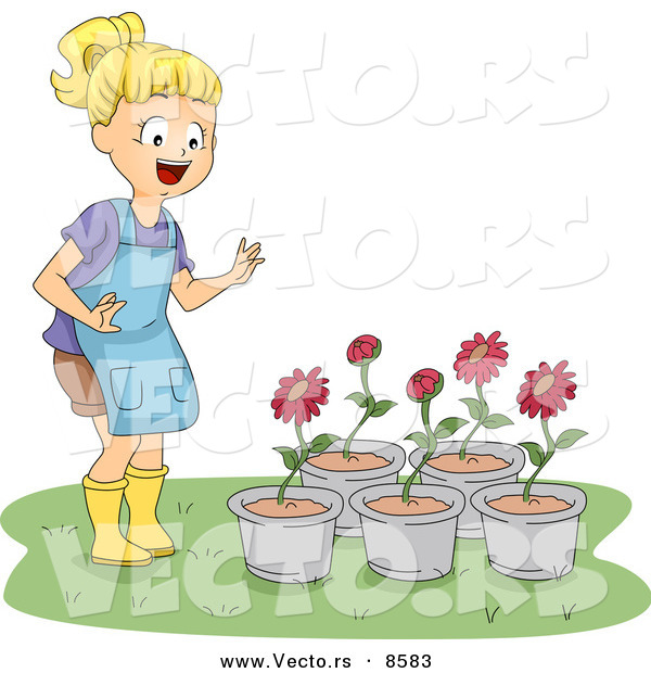 Cartoon Vector of a Happy Girl Looking at 5 Potted Red Flowers