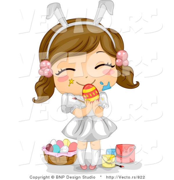 Cartoon Vector of a Happy Girl Painting Easter Eggs