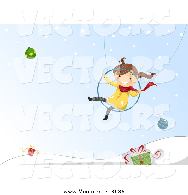 Cartoon Vector of a Happy Girl Swinging over Winter Background with Baubles and Gifts