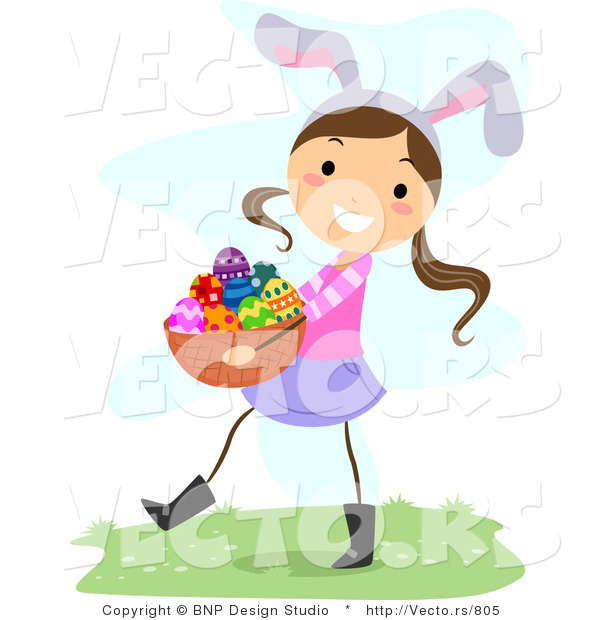 Cartoon Vector of a Happy Girl Wearing Bunny Ears While Carrying a Basket of Eggs