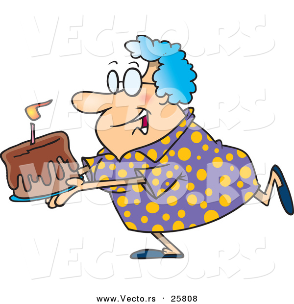 Cartoon Vector of a Happy Grandma Carrying a Birthday Cake