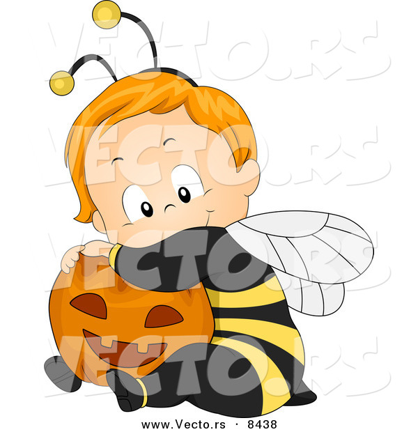 Cartoon Vector of a Happy Halloween Baby Boy Wearing a Bee Costume and Hugging a Pumpkin