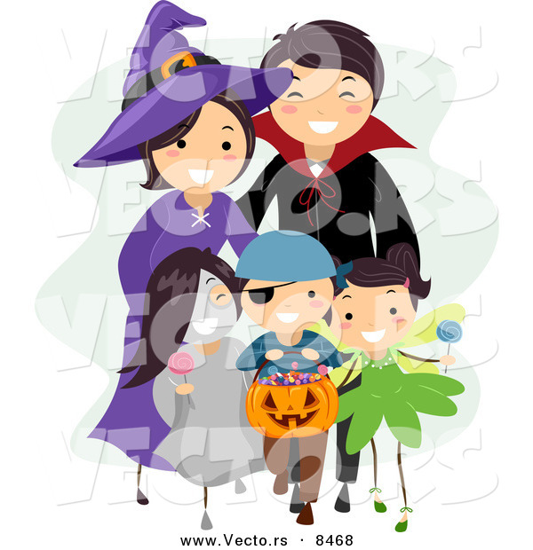 Cartoon Vector of a Happy Halloween Family Trick-or-Treating