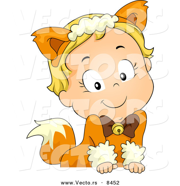 Cartoon Vector of a Happy Halloween Fox Girl Leaning over a Blank Sign