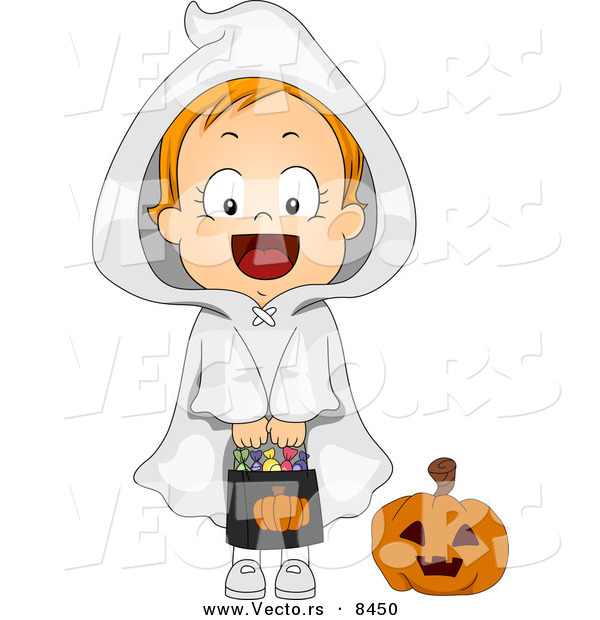 Cartoon Vector of a Happy Halloween Ghost Girl Holding Candy Bag
