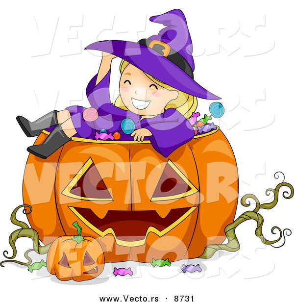 Cartoon Vector of a Happy Halloween Witch Girl Sitting in a Jack O'Lantern