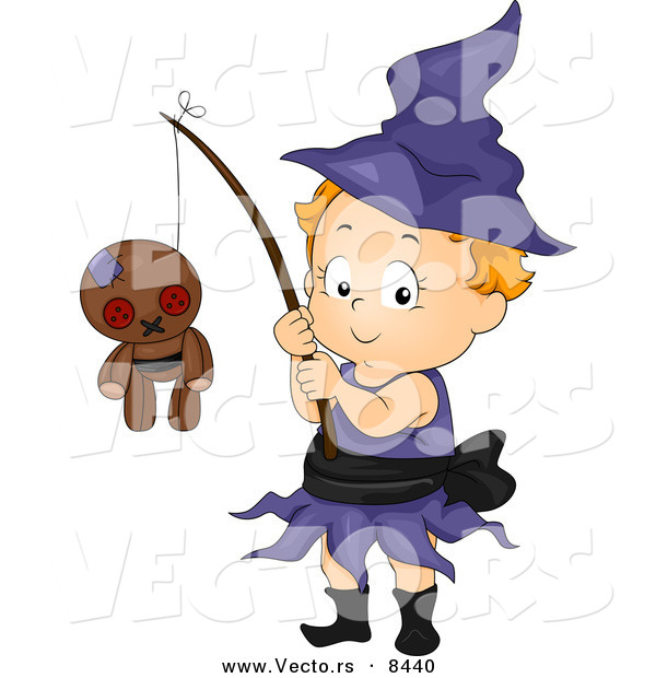 Cartoon Vector of a Happy Halloween Witch Girl with a Voodoo Doll on a Stick