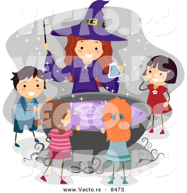 Cartoon Vector of a Happy Halloween Witch with Kids Around a Cauldron Filled with Purple Potion