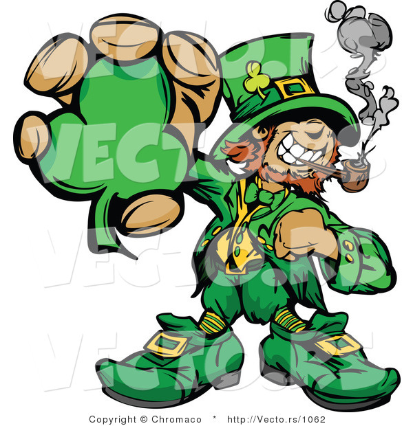 Cartoon Vector of a Happy Leprechaun Mascot Holding out Clover While Smoking a Pipe