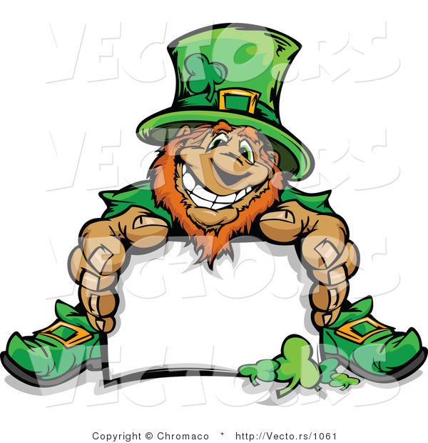 Cartoon Vector of a Happy Leprechaun Mascot Sitting Behind Blank Sign