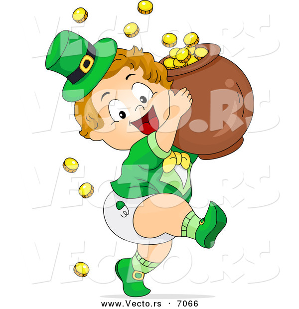 Cartoon Vector of a Happy Leprechaun Toddler Boy Carrying a Pot of Gold