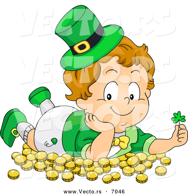 Cartoon Vector of a Happy Leprechaun Toddler Boy Laying on Gold Coins and Holding a Clover