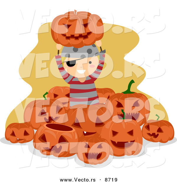 Cartoon Vector of a Happy Pirate Halloween Boy Surrounded by Jack O'Lanterns