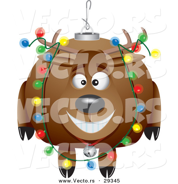 Cartoon Vector of a Happy Reindeer Christmas Bauble