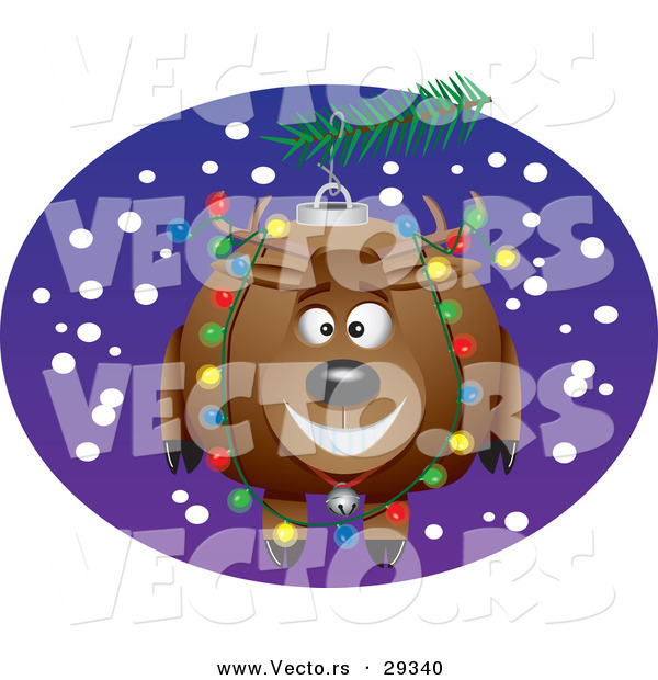 Cartoon Vector of a Happy Reindeer Christmas Ornament on a Tree