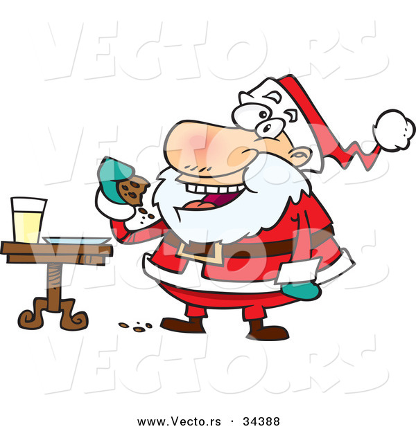 Cartoon Vector of a Happy Santa Eating Cookies with Milk