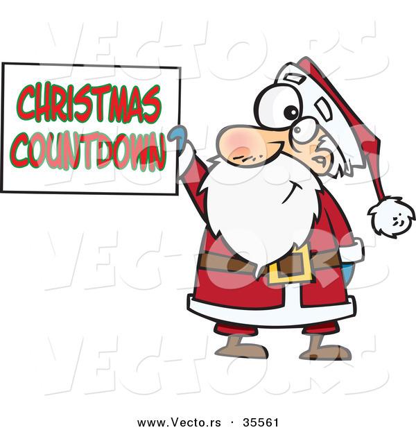 Cartoon Vector of a Happy Santa Holding Christmas Countdown Sign