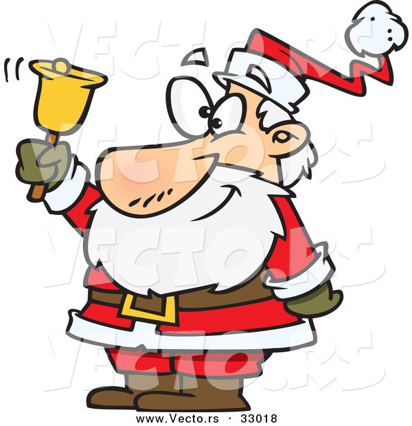 Cartoon Vector of a Happy Santa Ringing Gold Bell