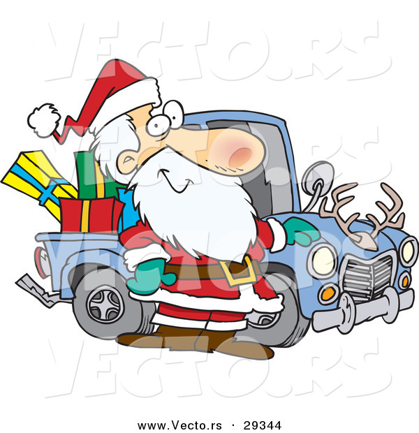 Cartoon Vector of a Happy Santa Standing Beside His Delivery Truck Full of Presents