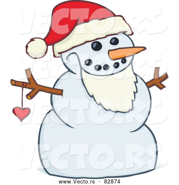 Cartoon Vector of a Happy Snowman Santa