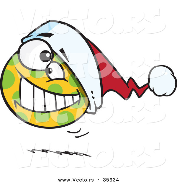 Cartoon Vector of a Happy Spotted Christmas Ball Bouncing with Santa Hat