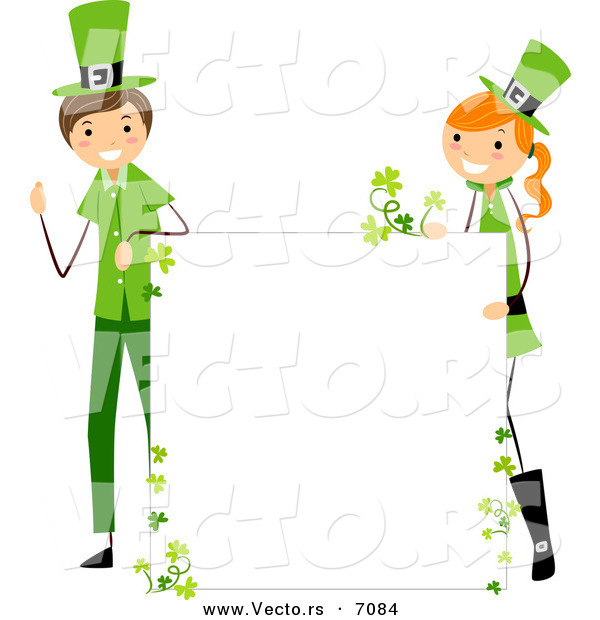 Cartoon Vector of a Happy St. Patrick's Day Boy and Girl Holding up a Blank Sign While Smiling