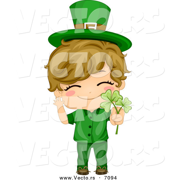 Cartoon Vector of a Happy St. Patrick's Day Boy Holding a Clovers