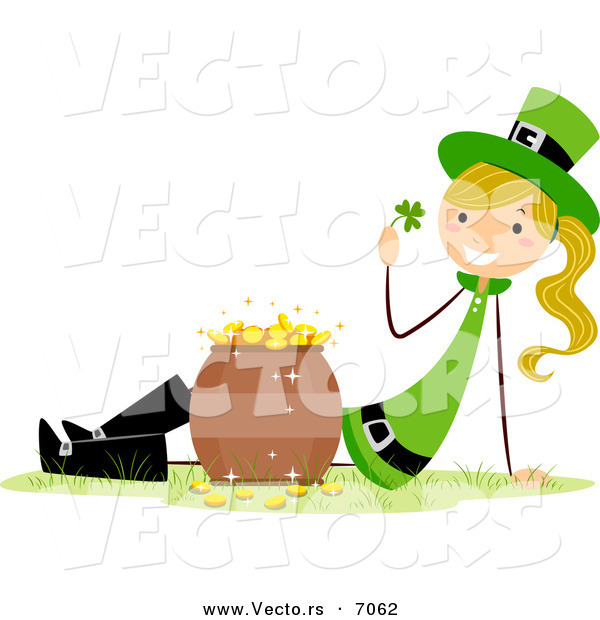 Cartoon Vector of a Happy St. Patrick's Day Girl Beside a Pot of Gold
