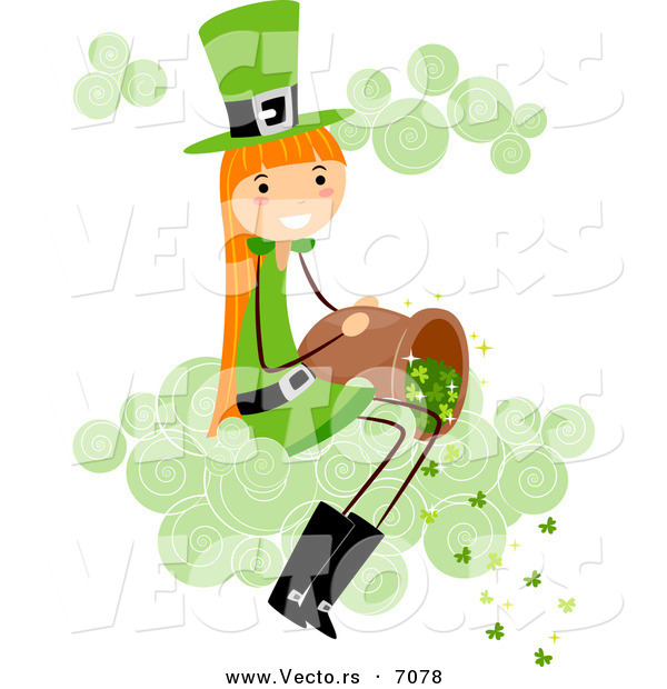 Cartoon Vector of a Happy St. Patrick's Day Girl Dumping Clovers out of a Bucket While Sitting on a Cloud