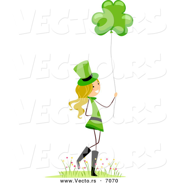 Cartoon Vector of a Happy St. Patrick's Day Girl Holding a Clover Balloon