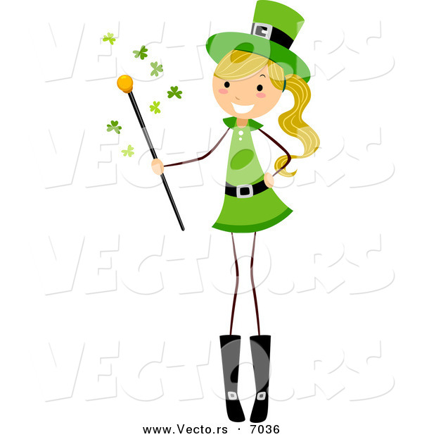 Cartoon Vector of a Happy St. Patrick's Day Girl Holding a Magic Wand