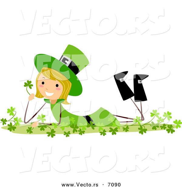 Cartoon Vector of a Happy St. Patrick's Day Girl Laying in Clovers