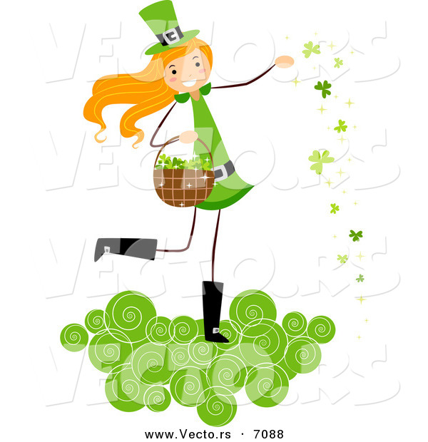 Cartoon Vector of a Happy St. Patrick's Day Girl on a Cloud, Tossing Clovers