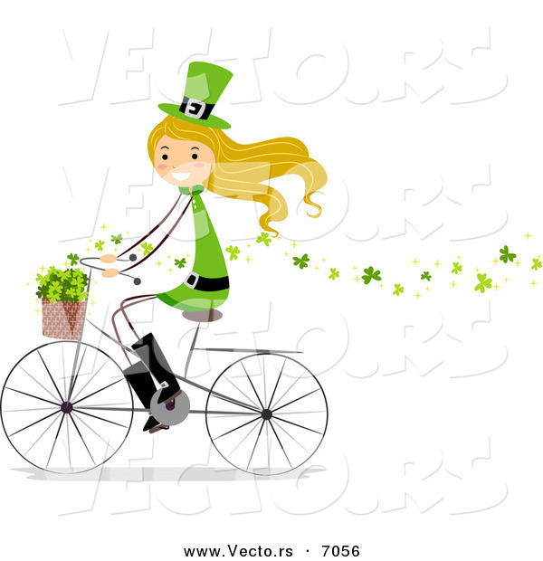 Cartoon Vector of a Happy St. Patrick's Day Girl Riding a Bike While Spreading Clovers Around from Her Basket