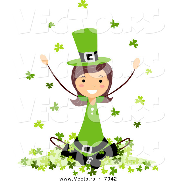 Cartoon Vector of a Happy St. Patrick's Day Girl Sitting on a Hill of Clovers