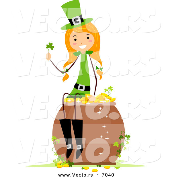 Cartoon Vector of a Happy St. Patrick's Day Girl Sitting on a Lucky Pot of Gold