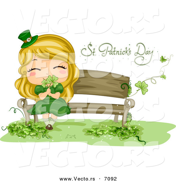 Cartoon Vector of a Happy St. Patrick's Day Girl Smelling Shamrocks While Sitting on a Bench
