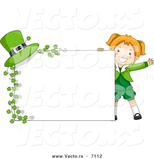 Cartoon Vector of a Happy St. Patrick's Day Girl Standing Beside a Blank Sign with Clovers and a Hat