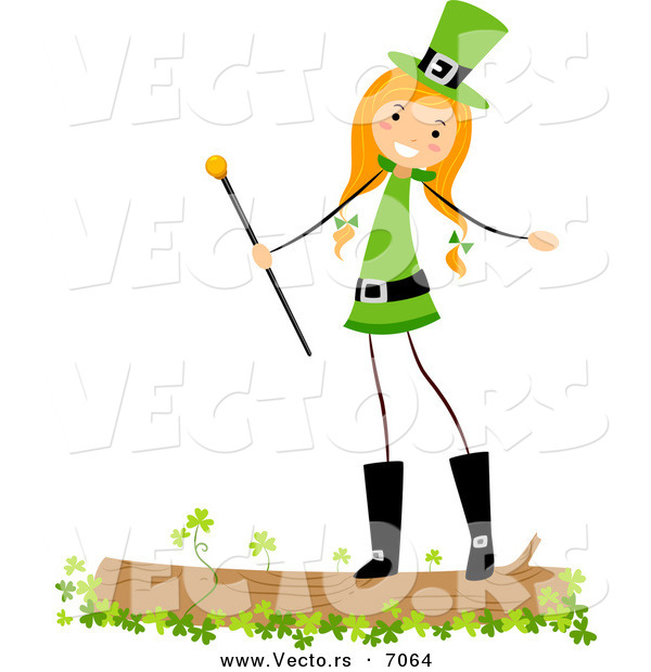 Cartoon Vector of a Happy St. Patrick's Day Girl Standing on a Log with Clovers