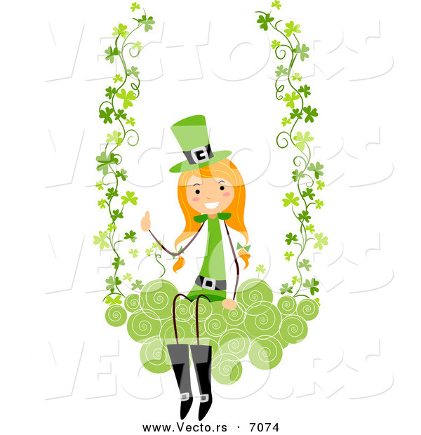 Cartoon Vector of a Happy St. Patrick's Day Girl Swinging on Clovers with Swirls