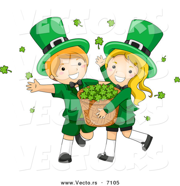 Cartoon Vector of a Happy St. Patrick's Day Leprechaun Boy and Girl Carrying a Basket Full of Clovers