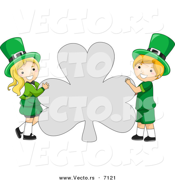 Cartoon Vector of a Happy St. Patrick's Day Leprechaun Boy and Girl Holding a Big Clover Shaped Sign