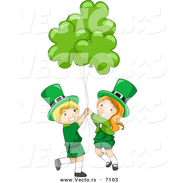 Cartoon Vector of a Happy St. Patrick's Day Leprechaun Boy and Girl Holding Clover Balloons