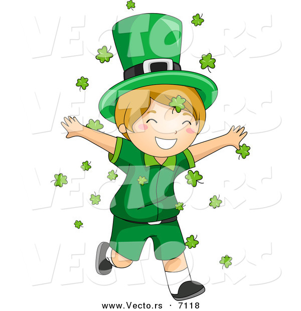 Cartoon Vector of a Happy St. Patrick's Day Leprechaun Boy Running Through Clovers Falling from the Sky