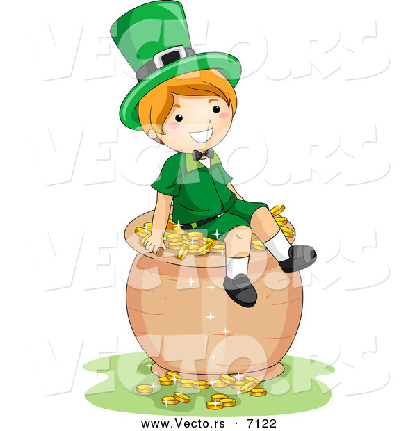 Cartoon Vector of a Happy St. Patrick's Day Leprechaun Boy Sitting on a Big Pot Full of Gold Coins
