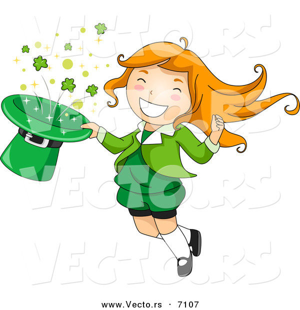 Cartoon Vector of a Happy St. Patrick's Day Leprechaun Girl Jumping with a Magical Clover Hat